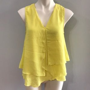H&M • Bright yellow layered v-neck blouse